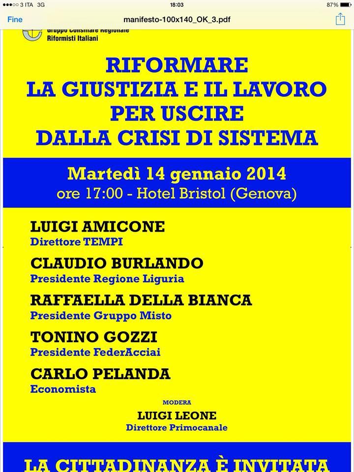 Convegno: Riformare la giustizia e il lavoro per uscire dalla crisi di sistema